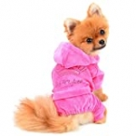 SELMAI Dog Hoodies Jumpsuit for Small Dog Cat Puppy Rhinestone Crown Soft Velvet Winter Hooded Pajamas Tracksuit Outfits Sportswear Jacket with Hat Training Outdoor Pink L