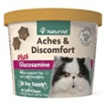 NaturVet Aches and Discomfort Plus Glucosamine for Cats, 60 ct Soft Chews, Made in the USA