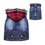 DABLUE Pet Coat Dog Jeans Jacket Cool Denim Coat Classic Small Medium Puppy Clothes Hoodie Vest Adorable Outfit
