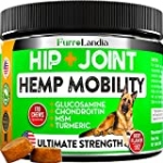 FurroLandia Hemp Hip & Joint Supplement for Dogs – 170 Soft Chews – Glucosamine, Chondroitin for Dogs – MSM – Turmeric – Hemp Seed Oil – Inflammation, Arthritis Pain Relief & Mobility Made in USA