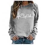 Womens Sweatshirts Winter Casual Loose Round Neck Tops Comfy Dog Paw Printed Long Sleeved T-Shirt Blouse Gray